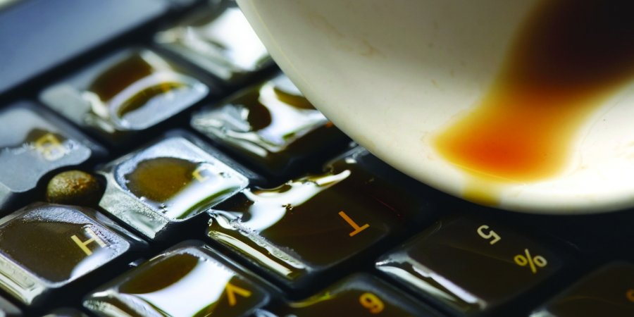 spill coffee on laptop